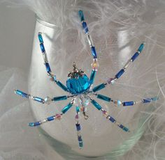 Aqua  Beaded Spider Ornament and Suncatcher with by Thespiderlady, $8.00