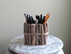IN STOCK - Driftwood Pencil and Pen Holder with Birch Divider, Wood Pencil and…