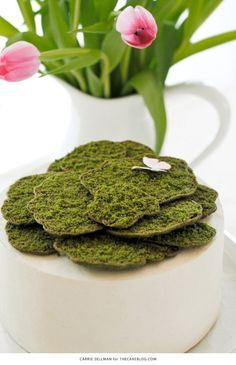 Moss Cake | how to make edible moss from sugar cookie dough | by Carrie Sellman for TheCakeBlog.com