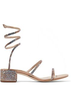 René Caovilla - Crystal-embellished satin and leather sandals fed6dab7bc6