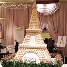 Macaron Eiffel Tower Cake at the WedLuxe Wedding Show   Image by Cynthia Martyn Fine Events