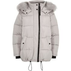 River Island Light grey oversized fur trim puffer coat ($180) ❤ liked on Polyvore featuring outerwear, coats, coats / jackets, grey, jackets, women, funnel-neck coat, light grey coat, grey oversized coat and tall coats