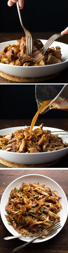 Slow Cooker Maple Pulled Pork, an easy weeknight dinner, plus three recipes to use your pulled pork. @sweetpeasaffron