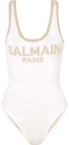 b8f5d7d99a Balmain - Metallic Intarsia Knitted Bodysuit - White Bodysuits