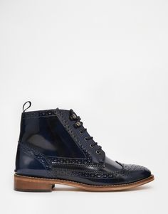 Image 2 ofASOS ARTIST Leather Brogue Lace Up Boots