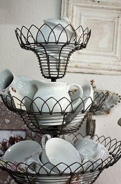 tiered wire basket with ironstone... I actually like it... might try with one I have