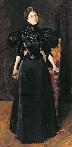 """Portrait of a Lady in Black"", c. 1895, by William Merritt Chase (American, 1849-1916). 1890s Fashion, Edwardian Fashion, Vintage Fashion, Retro Mode, Mode Vintage, Historical Costume, Historical Clothing, Women's Clothing, Belle Epoque"
