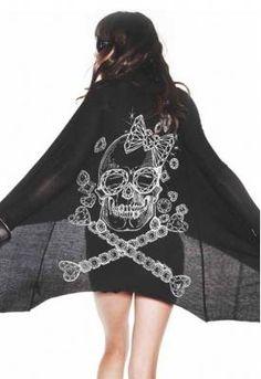 Lauren Moshi Sophia Long Sleeve Ribbed Cardigan with Skull in Black