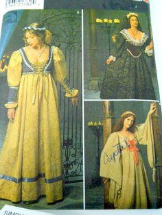 Simplicity Costume Sewing Pattern 8192 Womens Renaissance Dress Size 16-20