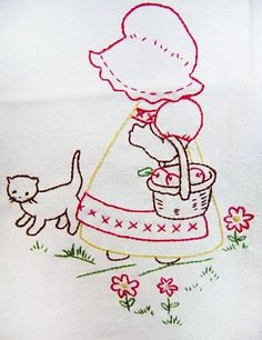 Sunbonnet Sue and kitty embroidery pattern Hand Embroidery Patterns, Vintage Embroidery, Ribbon Embroidery, Embroidery Applique, Cross Stitch Embroidery, Quilt Patterns, Machine Embroidery, Embroidery Designs, Sue Sunbonnet