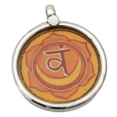 Sacral Chakra Painting Pendant Silver