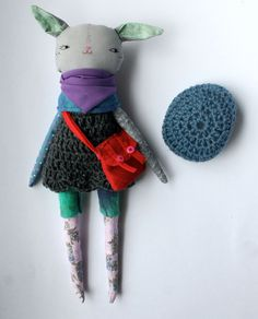 "stylish little Lu grey cat girl - 13""ish rag doll, cloth doll - long eared cat girl with crochet dark grey woolen dress, crochet beret"