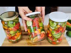 HIT salata! Pravi se za 10 min a ukusi leta ostaju i tokom zime - YouTube Canning Pickles, Crudite, Canning Recipes, Saveur, Summer Salads, Salad Dressing, Diy Food, Fresh Rolls, Cucumber