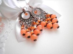 Peach Agate Antique Copper Earrings from juta ehted - my jewelry shop by DaWanda.com