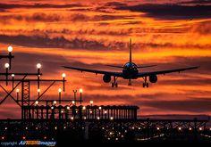 Night flight - Fantastic sunset at Barcelona Airport