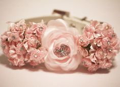 Pink Wedding Floral Dog Collars,Pink flowers with Rhienstone and pink butterfly Rhinestone, High Quality leather Dog Collar Bling Dog Collars, Leather Dog Collars, Dog Wedding Dress, Wedding Dogs, Pink Butterfly, Pink Flowers, Beaded Dog Collar, Collar Choker, Handmade Dog Collars
