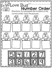 Love Bug Number Order Preschool Worksheets for February