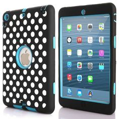iPad Mini 3 Case,iPad Mini 2 Case,iPad Mini 1 Case,DIOS CASE(TM) Heavy Duty Hard PC   Soft Silicone 3 in 1 Shockproof Impact Resistant Protective Cover for Apple iPad Mini 1/2/3 (Blue Doted Pattern) * This is an Amazon Affiliate link. You can find out more details at the link of the image.