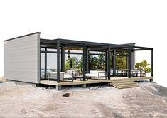 Kontio Glass House -huvilat yhdistävät tyylikkäästi hirren ja lasin / Kontio Prefab Shipping Container Homes, Gazebo, Pergola, Tiny House Loft, Glass House, Outdoor Structures, Outdoor Decor, Future, Blue