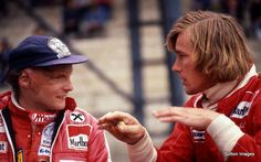 Niki Lauda and James Hunt. It's amazing how much Daniel Bruhl and Chris Hemsworth resembles these two for Rush.