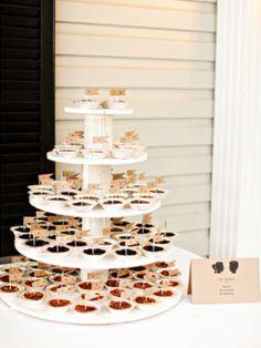 summer wedding desserts mini pie display 275x367 Summer Wedding Dessert Spotlight: Pies and Tarts