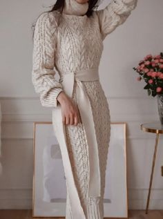 Long Sweater Dress Turtleneck Long Sleeve Sash Knit Dress - TD Mercado Source by Sweater Dresses Classy Outfits, Chic Outfits, Dress Outfits, Fall Outfits, Dresses Dresses, Dresses Online, Long Sweater Dress, Knit Dress, Pink Sweater