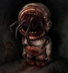 """Help Me"" by Rick Oerlemans @ deviantart. Creepy Drawings, Dark Art Drawings, Fantasy Kunst, Dark Fantasy Art, Arte Horror, Horror Art, Lovecraftian Horror, Satanic Art, Dark Artwork"