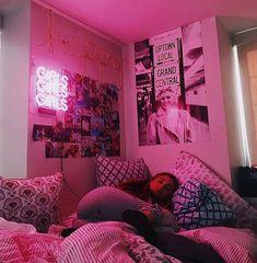 room ideas aesthetic grunge * room id Neon Bedroom, Room Ideas Bedroom, Edgy Bedroom, Bedroom Girls, Adult Bedroom Decor, Neon Room Decor, Pink Dorm Rooms, Neon Lights Bedroom, Hippie Bedroom Decor