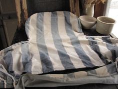 Wonderful blue and white striped 18th or 19th century slip cover ! Lovely French country authentic textile ~ www.textiletrunk.com