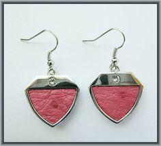 Ostrich leather crystal earrings - Pink OE14 Crystal Earrings, Drop Earrings, Crystals, Pink, Leather, Jewelry, Fashion, Moda, Jewlery