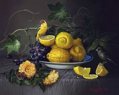 """""""Sweet Sour and Beautiful"""" Yana Movchan, Oil on Canvas. Old Paintings, Nature Paintings, Beautiful Paintings, Still Life 2, Still Life Fruit, Lemon Head, Decoupage, Renaissance Paintings, Painting Still Life"""