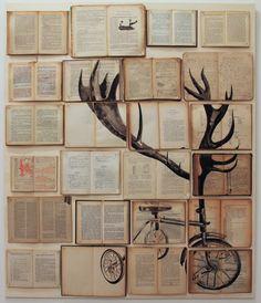 Sono me stesso, 2012; libri antichi e non, inchiostro, chiodi, legno, cm 130x110 (start new week)