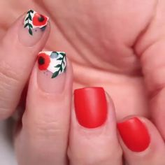 Floral nail art on short nails 💅🏼😍❤ by Classy Nails, Stylish Nails, Trendy Nails, Cute Nails, Flower Nail Designs, Short Nail Designs, Tropical Nail Designs, Tropical Nail Art, Red Nail Designs