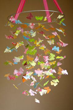 butterfly ceiling | Strawberry Sunrise Butterfly Mobile by littledreamersinc on Etsy