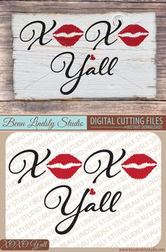 Valentines Day SVG Cutting File: XOXO, Love Sayings. The SVG File For Silhouette Pattern, SVG File For Cricut Projects and DXF File can be used to create Valentines Day Decorations and Valentines Day Gifts For Him. The PNG Image File is great for Lips Clip Art and Love Clip Art.  This vinyl design would make a wonderful Valentines Day Gift, such as a Love Vinyl Wall Decal, Valentines Day Card, Coffee Mug, DIY T Shirt and large variety of personalized items. By: www.beaulindslystudio.com