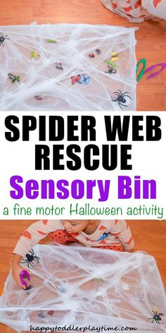 Spider Web Rescue - HAPPY TODDLER PLAYTIME Spider Web Rescue is a fun and easy to set up fine motor activity perfect for Halloween! Your little one will love rescuing insects before the spider eats them! #halloweenactivities #sensorybin #finemotor