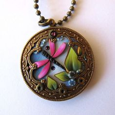 Dragonfly Garden Pendant Necklace, Polymer Clay Pendant, Whimsical Wearable Art, Dragonfly Jewelry by Claybykim on Etsy: