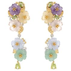 "151-358 - Gems en Vogue Paris ""Flower Garden de Versailles"" 2"" Multi Gemstone Dangle Earrings"