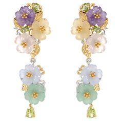 "151-358 - Gems en Vogue Paris ""Flower Garden de Versailles"" 2"" Multi Gemstone Dangle Earrings"