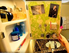 Attach metal inside medicine chest door use magnets to attach small easy to reach items....even photos!