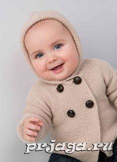 Пальто спицами малютке