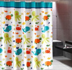 Tortoise Octopus Crab Whale Polyester White Shower Curtain Water Resistant, 70 inches wide by 70 inches long
