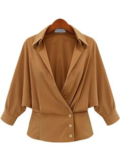Khaki Lapel Long Sleeve Buttons Blouse