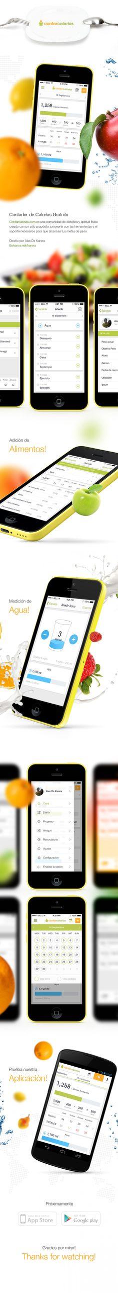 Contar calorias. Fitness application (iOS & Android) by Alex Ds Karera, via Behance Mobile Ui Design, App Design, Food Design, Tablet Ui, Iphone, Ui Inspiration, User Interface Design, Apps, Fun Workouts