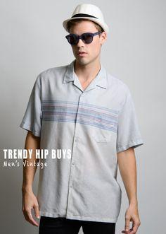 Men's Vintage shirt Men's 70s shirt Men's shirt Men's blue shirt Blue stripe shirt Men's vintage top - XL