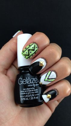 Tribal Black,White and Green Gel Manicure