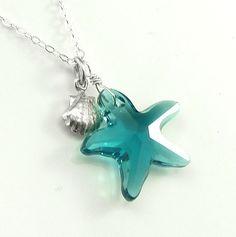 A darling birthday gift! Caribbean Blue Swarovski Star Fish Necklace Sterling Silver Sea Shell Charm  - Getaway Vacation Ocean Beach Jewelry. $36.00, via Etsy.