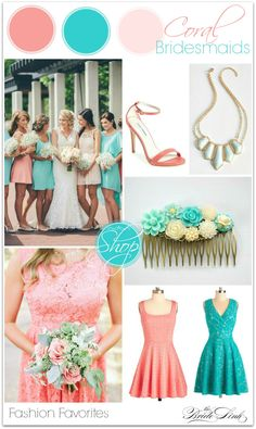 Coral and Teal Bridesmaid Dresses