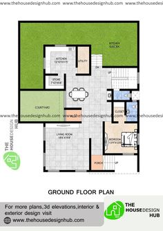 3490 Sq ft Bedroom Size, One Bedroom, Living Room Bedroom, Home Design Plans, Plan Design, L Shaped Kitchen, Small Courtyards, Kitchen Utilities, Pooja Rooms
