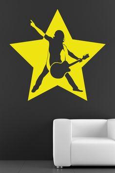 Rock Star Wall Decal by WALLTAT.com